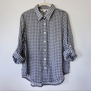 AMERICAN RAG | Navy Blue Sheer Checkered Button Up